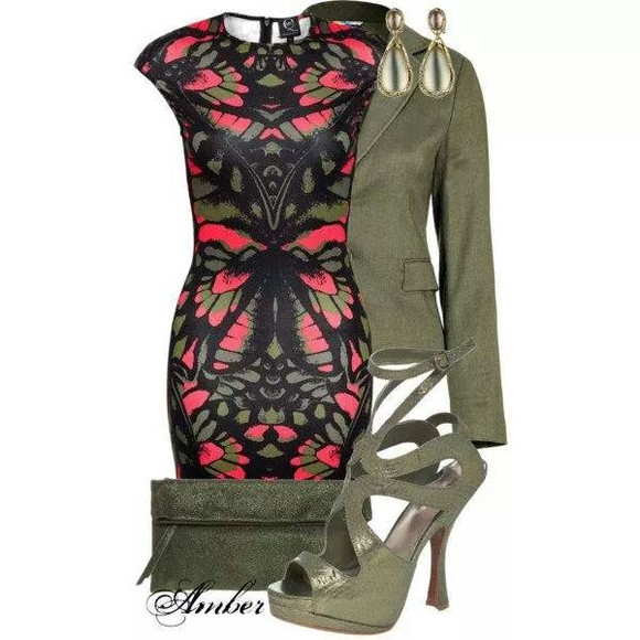 fitted dress multi colored