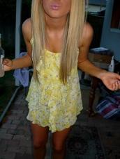 dress,yellow,yellow dress,white dress,white,tank top,spaghetti strap,ruffle,summer,summer dress,yellow summer dress,short dress