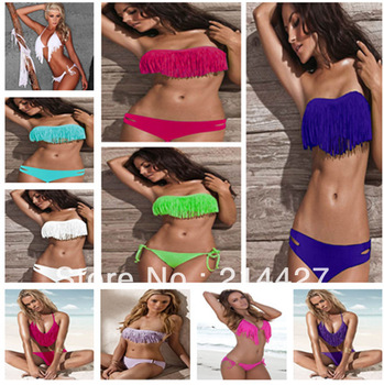 Hot Sale Sexy Women Swimwear Padded Boho Fringe Bandeau Top Swimsuit Lady Bathing Suit High Fashion Bikini Set Free Shipping-in Bikinis Set from Apparel & Accessories on Aliexpress.com