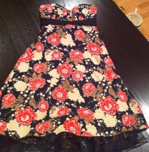 Red White Black Flowers Charlotte Russe Tube Dress N W T Ebay