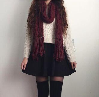 tights skirt burgundy knitwear cream white tumblr black sheets sweater white sweater scarf black skirt shirt shirt is nice too lace white dress infinity scarf belt pretty cute dress thanks top cream white