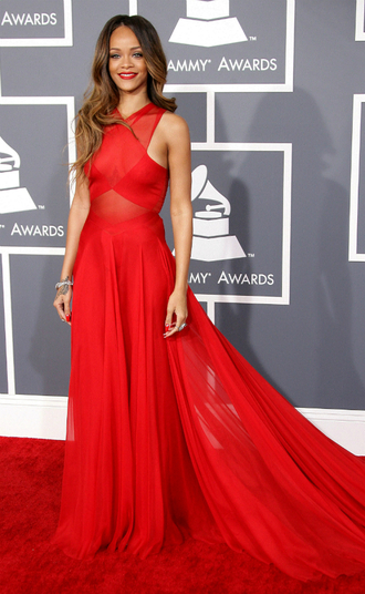 dress red rihanna sheer red lipstick long