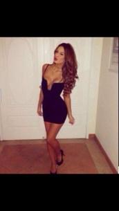 dress,black,v cut,plunge neckline,neckline,cute,short,party,formal,little black dress,sexy,bodycon