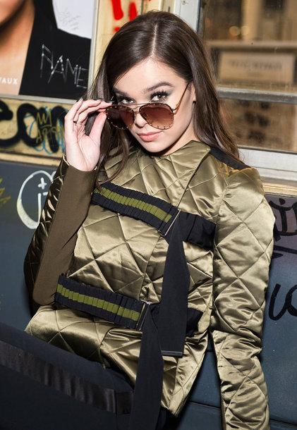 jacket fall jacket hailee steinfeld sunglasses khaki