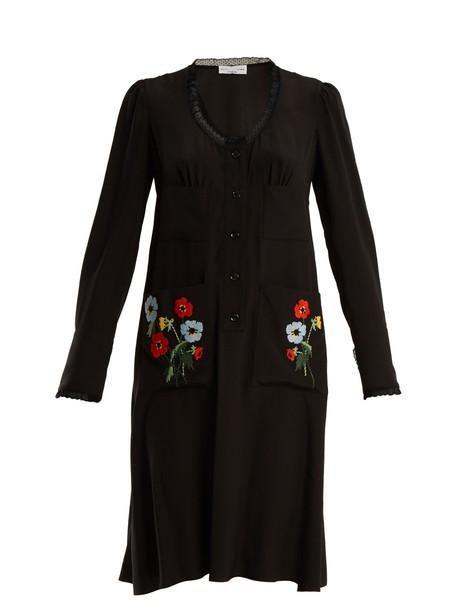 Sonia Rykiel dress silk dress embroidered lace floral silk black