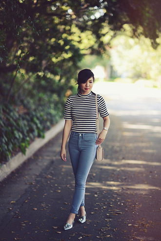 fresh fizzle blogger striped top light blue jeans