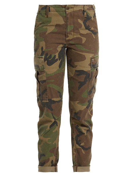RE/DONE ORIGINALS camouflage print green pants