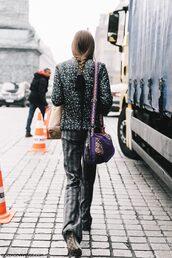 pants,tumblr,grey pants,streetstyle,fall outfits,fashion week 2017,jacket,down jacket,printed jacket,bag,printed bag