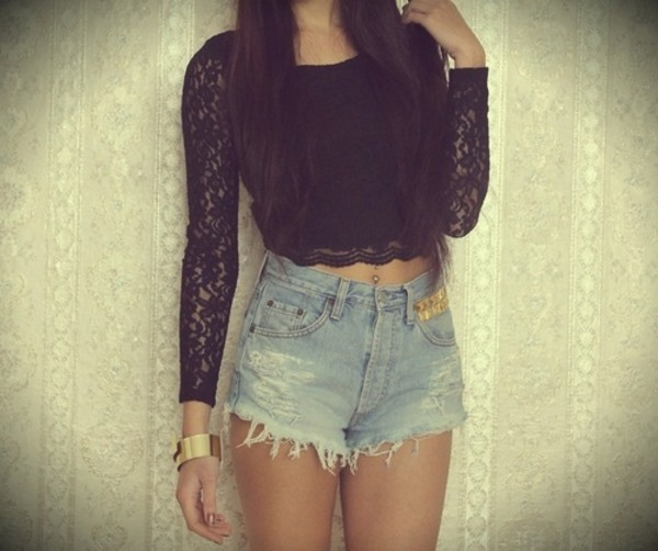 shirt black denim shorts lace crop tops cut off shorts long sleeves jeans top High waisted shorts t-shirt black top black shirt lace top black lace