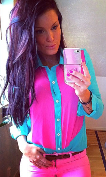 pink sexy blouse shirt multicolor blouse multicolor blue