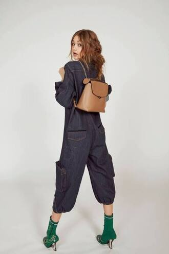 bag backpack jumpsuit editorial gigi hadid fendi