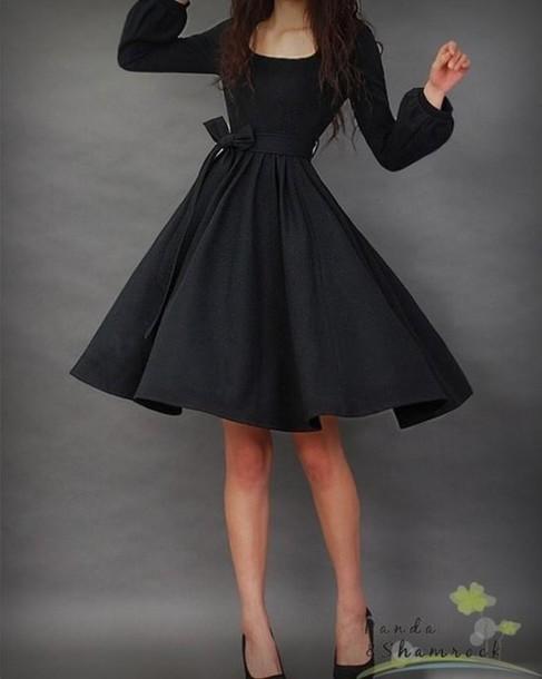 dress little black dress black long sleeve dress black 50's dress black dress gorgeous fancy
