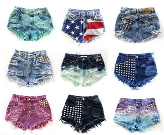 shorts different selctions american flag denim