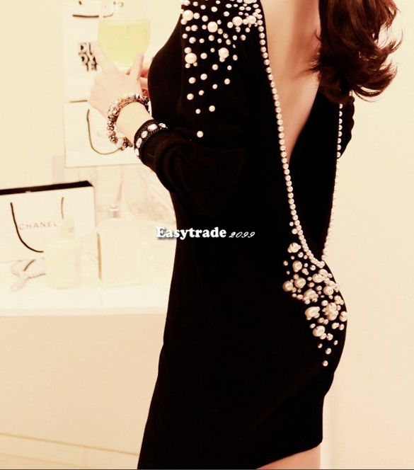 Lady's Low V Back Backless Plastic Pearl Beaded Embellished Back Off Dress ESY1 | eBay