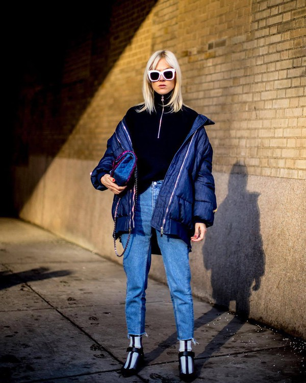 jacket tumblr streetstyle blue jacket puffer jacket sunglasses white sunglasses denim jeans blue jeans boots sweater black sweater