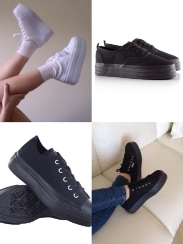 shoes platform shoes creeper white black