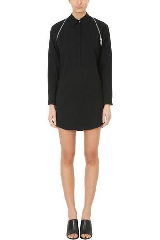 dress shirt dress zip black