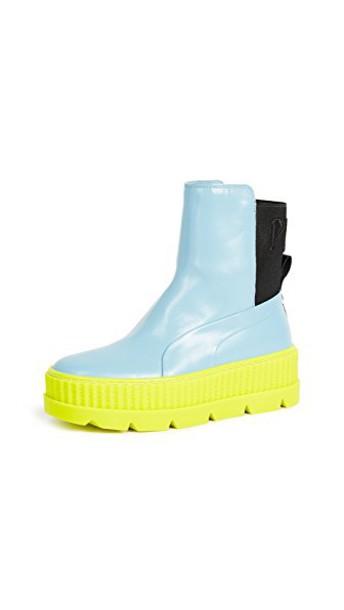 puma blue black shoes