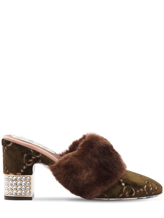 fur faux fur candy mules velvet green olive green shoes