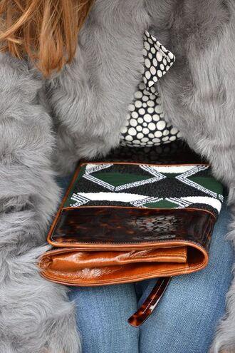 bag dries van noten bag printed bag jeans blue jeans clutch fur coat coat grey coat top polka dots polka dot top