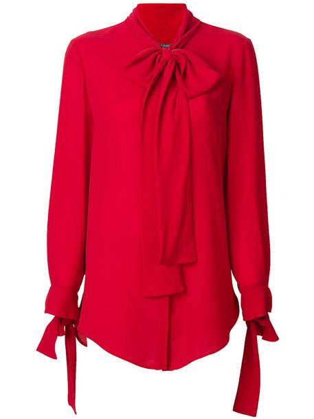 Alexander McQueen - scarf detail shirt - women - Silk/Polyamide - 38, Red, Silk/Polyamide