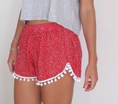 shorts,summer shorts,red spotty shorts,pom pom shorts,red shorts,red white,cute tumblr,red,cute,summer