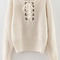 White eyelet lace up ribbed trim sweater -shein(sheinside)