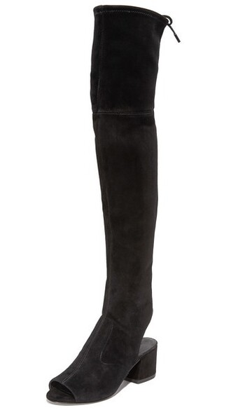 open over the knee boots black shoes