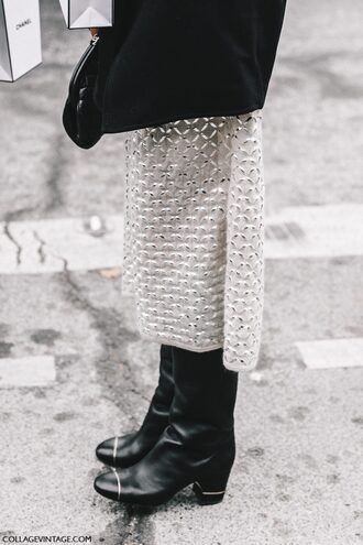 shoes tumblr fashion week 2017 streetstyle boots black boots thick heel boots thick heel skirt midi skirt white skirt
