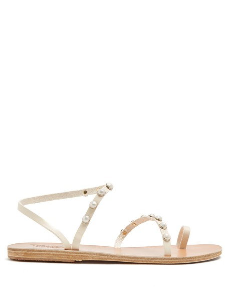 Ancient Greek Sandals embellished sandals leather sandals leather cream shoes