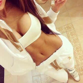 jacket shoes tank top pants underwear sweats joggers workout sexy gym clothes white sweatpants sweatsuit set lounge lazy day hoodie jumpsuit white sweats white pants sportswear sporty pajamas gold sweater style ralph lauren sweat pants white and gold top