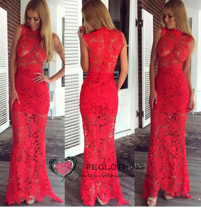Fashion flower red lace maxi dress with high collar. Party dresses · FE CLOTHING · Online Store Powered by Storenvy