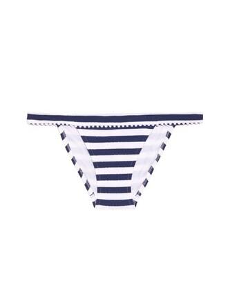 bikini striped bikini white blue swimwear