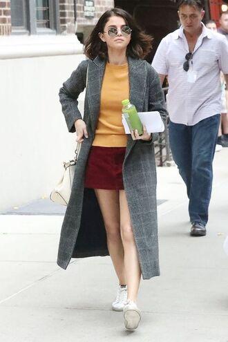 skirt sweater coat sneakers selena gomez streetstyle nyfw 2017 ny fashion week 2017