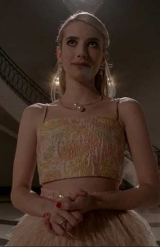 skirt emma roberts chanel oberlin scream queens pencil skirt yellow crop top jewels