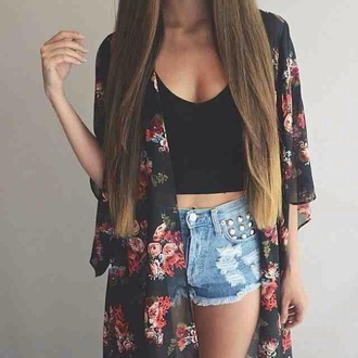 jacket kimono black festival wear boho bohemian hippie floral flowers print pattern rose roses red pink cute teenagers tumblr girl party summer spring beach