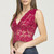 Sleeveless V-Neck Lace Crop Top - Burgundy