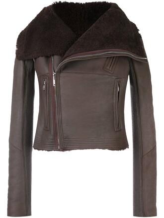 jacket biker jacket cropped brown