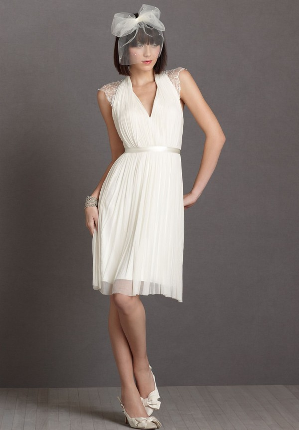 Chiffon V Neck A Line Reception Wedding Dress Bride