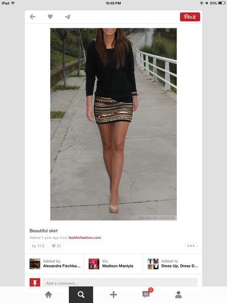 skirt shirt patterned skirt mini skirt black and gold