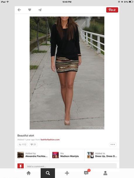 skirt shirt patterned skirt mini skirt black and gold