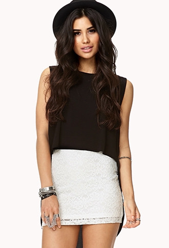 Eyelet Lace Bodycon Skirt | FOREVER21 - 2017306639