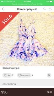 romper,floral,purple,cute,flowers,geometric