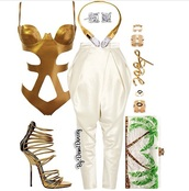 top,gold,pants,shoes,swimwear