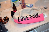 beauty bag,pink,pink by victorias secret,makeup bag,victoria's secret,bag