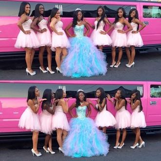 dress prom dress prom gown girl group pink pink dress light pink light blue ruffle ball gown dress gown