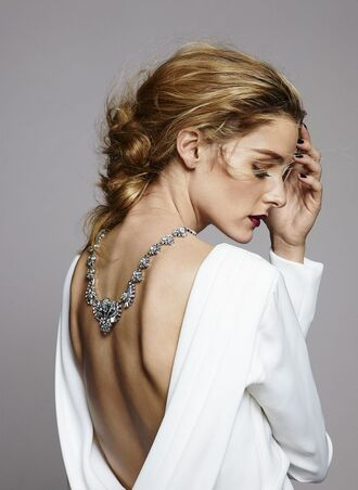 jewels top dress backless olivia palermo white blouse