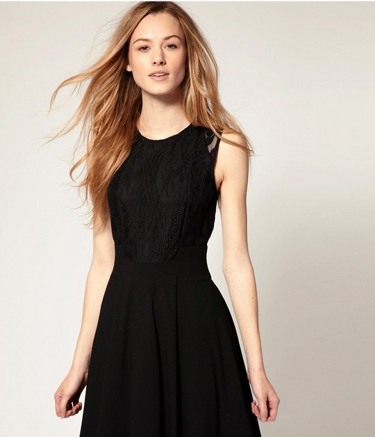 HOT ! Classic black dress stitching  atmosphere  thin skirt sleeveless lace dress FREE SHIPPING  S/M/L/XL DXi-in Dresses from Apparel & Accessories on Aliexpress.com