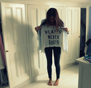 shirt a player never quits player quote texy white black