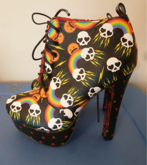 platform shoes abbey dawn skull lightning bolt playforms platform high heels platformboots